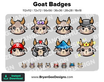 Cute Chibi Kawaii Goat Subscriber - Loyalty - Bit Badges - Channel Points for Twitch, Discord or Youtube