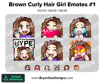 Cute Chibi Kawaii Wave, Love, Sad, LUL, Hype and Rage Curly Brunette / Brown Hair Girl Emotes for Twitch, Discord or Youtube