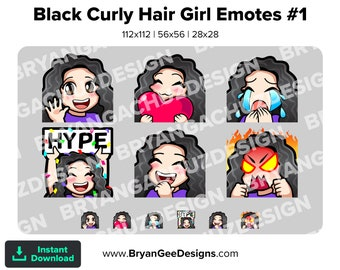 Cute Chibi Kawaii Wave, Love, Sad, LUL, Hype and Rage Curly Black Hair Girl Emotes for Twitch, Discord or Youtube