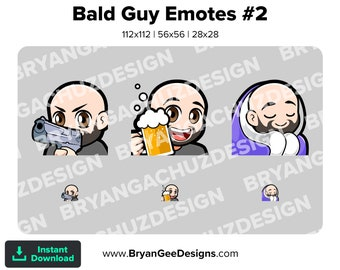 Gun, Cheers and Cozy Bald Guy Emotes for Twitch, Discord or Youtube