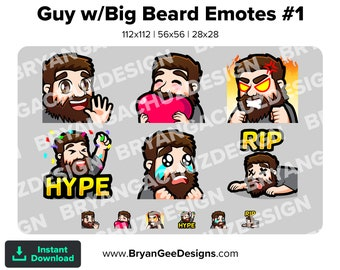 Chibi Kawaii Wave, Love, Sad, Hype, RIP and Rage Guy with Big Beard Emotes for Twitch, Discord or Youtube