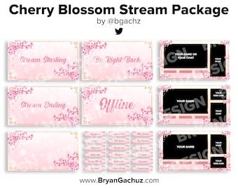 ANIMATED Cherry Blossom Stream Package for Twitch | Animated scenes, 4 static scenes, 18 panels, 3 overlays & 1 background