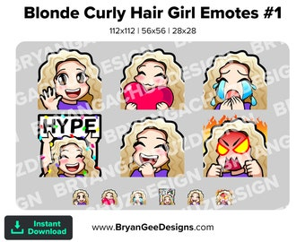 Cute Chibi Kawaii Wave, Love, Sad, LUL, Hype and Rage Blonde Curly Hair Girl Emotes for Twitch, Discord or Youtube