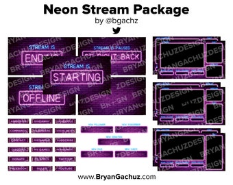 Neon Stream Package for Twitch | 4 static scenes, 7 overlays, 5 alerts, 18 panels & 1 background