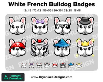 White Frenchie / French Bulldog Subscriber - Loyalty - Bit Badges- Channel Points for Twitch, Discord or Youtube