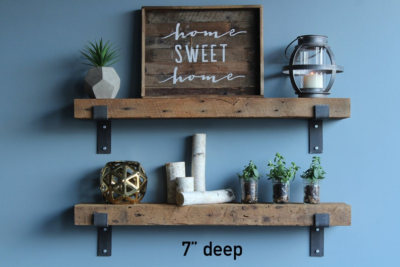 Reclaimed Wood Shelves | Industrial, Rustic Barn Wood With Brackets |  Chunky | Amish Handcrafted In Lancaster County, PA