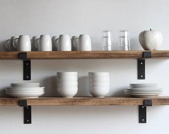 Deep Kitchen Shelves Hardwood, Set of 2 | Modern, Sleek, Bracketed | Solid Oak with Full Metal Brackets | Handcrafted in Lancaster, PA