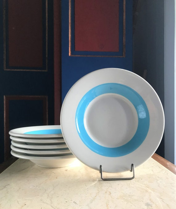 1950s Ceramic Soup Cereal Dessert Bowl 2U Vintage Replacement China Made in USA Wallace China Restaurant Ware Blue Stripe Bowls Set Of 6