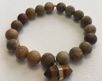 Beaded Brown Earthtone Bracelet, Tigers Eye Charm