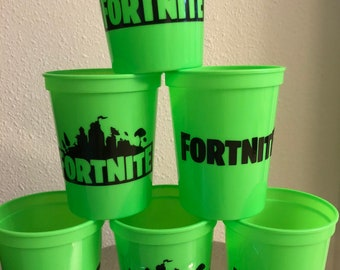 Fortnite Battle Royale Party Cups Reusable  Stadium Cups Favors Birthday  Lime Green Party Supplies Party Decor