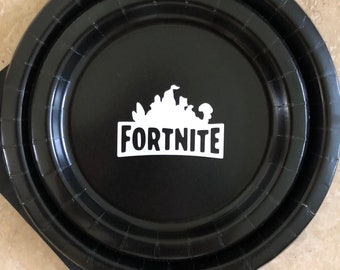 Fortnite Battle Royale Birthday Party Black + White Plate Napkins cake plates Birthday  Party Pack decor tableware boy Birthday Gaming gamer