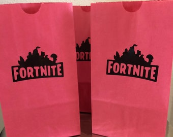 Fortnite Party Favor Bags Goodie Bags Loot Bags Birthday Party Supplies  boys small Paper Bags red and black popcorn bags