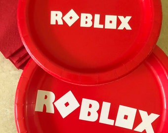 Red Roblox ultimate Birthday Party Pack for 16  plates napkins Birthday Decor video gamer cake plates party supplies