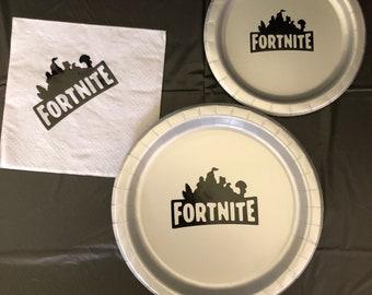 Fortnite Battle Royale Birthday Party Plate Napkins cake plates Birthday  Party Pack decor tableware boy Birthday Gaming gamer