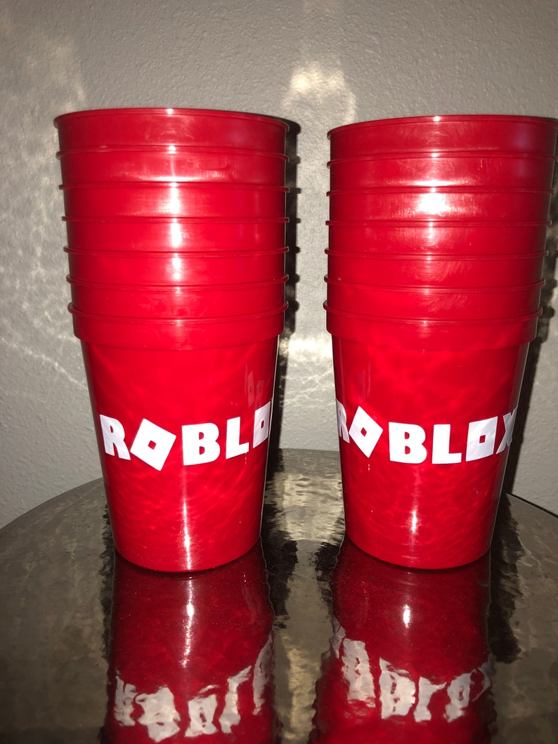 Roblox party cups reusable stadium cup favors birthday red etsy