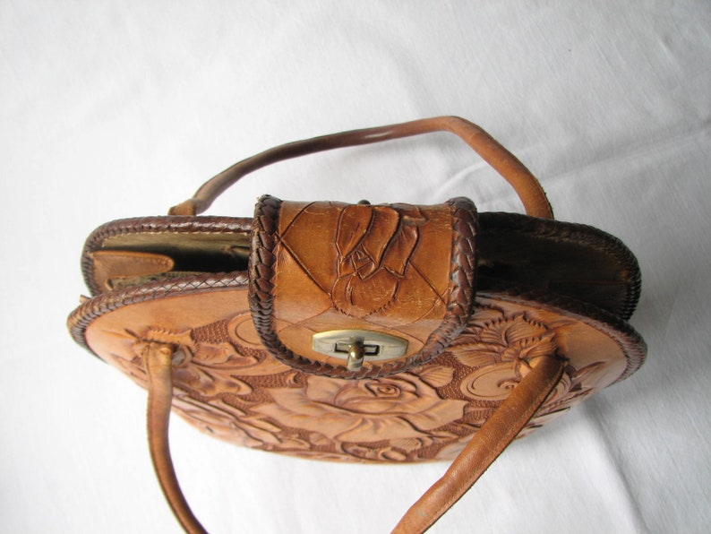 Vintage 70s Tooled Leather Bag Roses Stunning