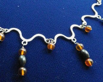 Amber and Jet Necklace
