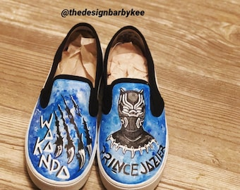 Handpainted Black Panther Slip Ons de92fcc71