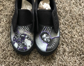 Handpainted Black Panther Slip ons fdc0ff5fc