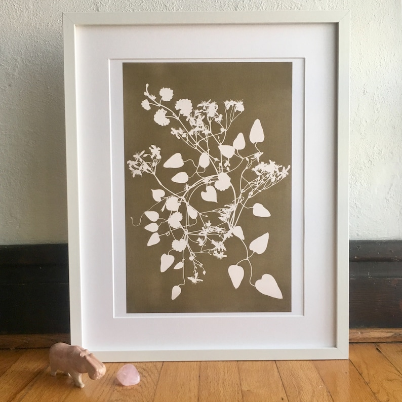 Coffee Colored Clematis Vine Wreath Print