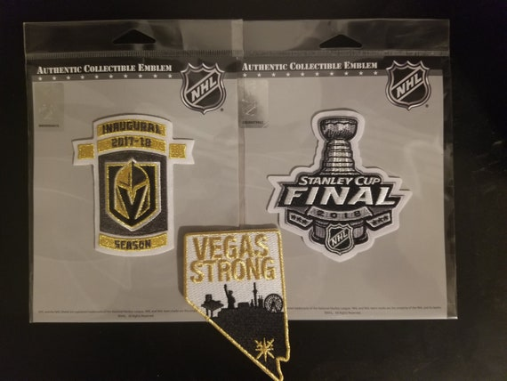brand new 8edf0 c778e Las Vegas Golden Knights Patch - Inaugural 2017 - 2018 Gold Metallic Plus  Vegas Strong Knights Hockey JERSEY PATCH + 2018 Stanley Cup Finals