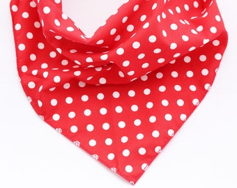 Dog Bandana, Pet Bandana, Puppy Bandana, Red Polka Dot Dog Bandana, Tie on Dog Bandana, Dog Gift, Dog Scarf, Dog Accessories