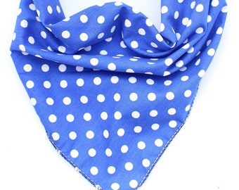 Dog Bandana, Pet Bandana, Puppy Bandana, Blue Polka Dot Dog Bandana, Tie on Dog Bandana, Dog Gift, Dog Scarf, Dog Accessories