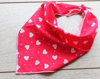Dotty Hearts Dog Bandana, Pet Bandana, Puppy Bandana, Red and White Dog Bandana, Tie on Dog Bandana, Dog Gift, Dog Scarf, Dog Accessories