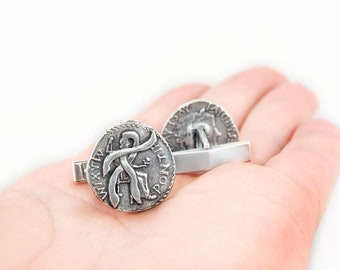 Anduriel's Blackened Denarius Cufflinks from Jim Butcher's The Dresden Files, Officially Licensed Sterling Silver Cuff Links, Free Shipping