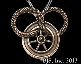 The Wheel of Time® Symbol Necklace from the series by Robert Jordan, Officially licensed Great Serpent Pendant, The Snake Wheel, Ouroboros