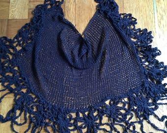 "Named ""Night"" chal  shawl handmade Knitting"