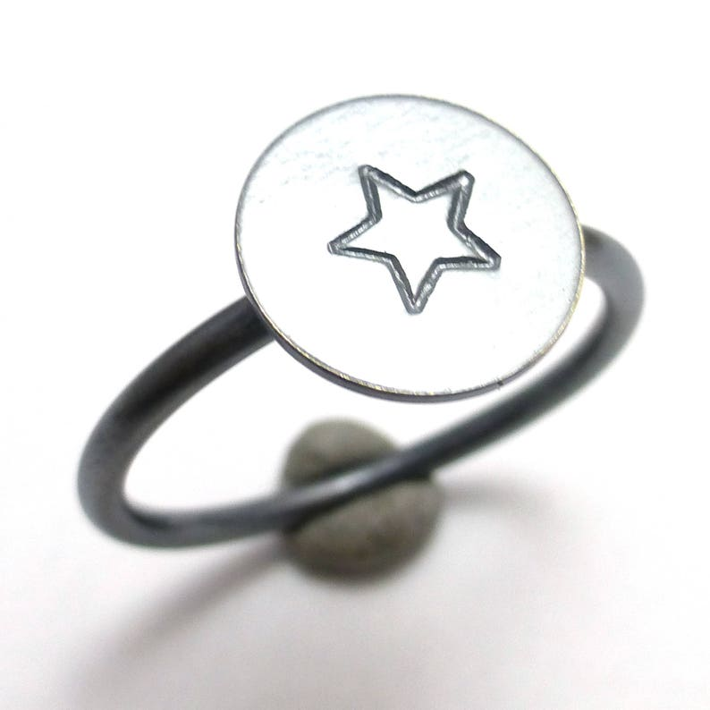 Star Icon Stacking Ring Oxidized Sterling Silver Toolbox by Sachs Design Handmade Custom Sizes Superstar American Hero
