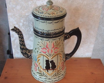 decorated in Alsace, old aluminum coffee pot