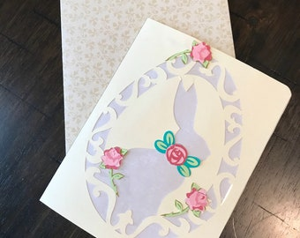 Easter bunny card, Some bunny loves you, Easter flowers