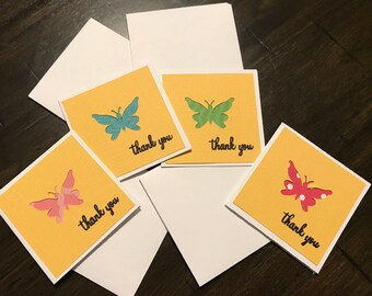 Small thank you notes, butterfly thank you notes, butterfly, blank thank you note cards