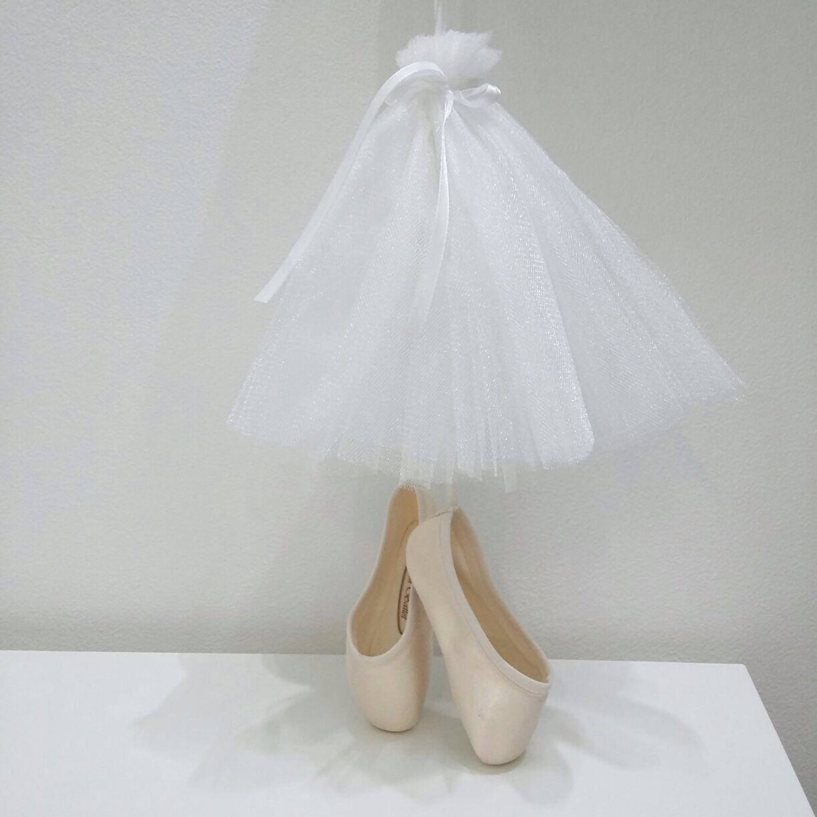 white skirt half-size replica of pointe shoes, mobiles for babies, russian ballet, newborn gift, home decor, bedroom for newborn