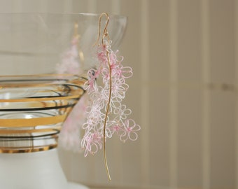clip-on or hypoallergenic 14kgf ear wire Pink splash tatting lace and rose quartz /& freshwater pears long dangled asymmetrical earrings
