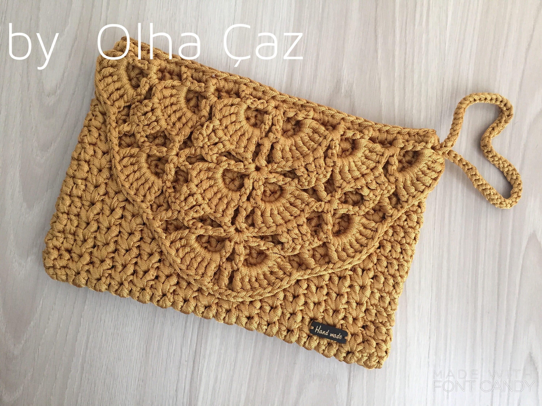 Lace Clutch Golden Clutch Yellow Crochet Small Handbag Crochet Etsy