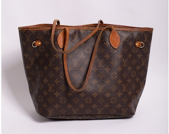 Vintage Louis Vuitton Neverfull Canvas and Leather Monogram Large Tote Bag MM LV Logo Carryall