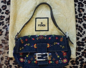 3912b1e105 FENDI Dark Wash Denim Embellished and Beaded Baguette with Silver Tone  Hardware and Chartreuse Lining