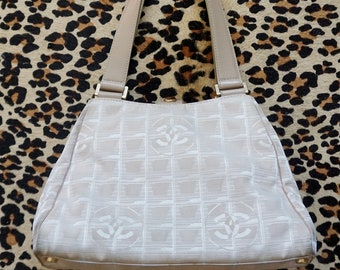 3bd6ade54d2e 1990s CHANEL Cream and Beige Canvas and Leather Handbag with Gold Hardware