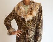 1990s Velvet Italian Made Leopard Print Jacket with Rabbit Fur Collar and Trim