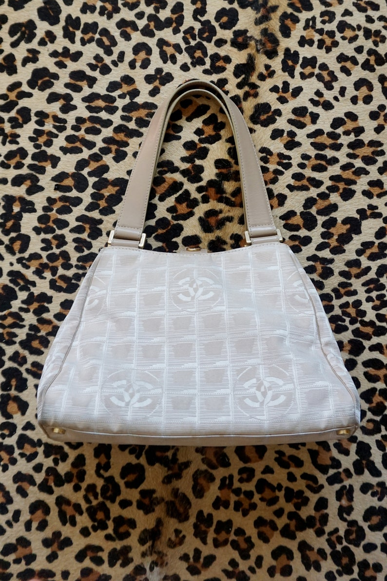 1015ab14c 1990s CHANEL Cream and Beige Canvas and Leather Handbag with | Etsy