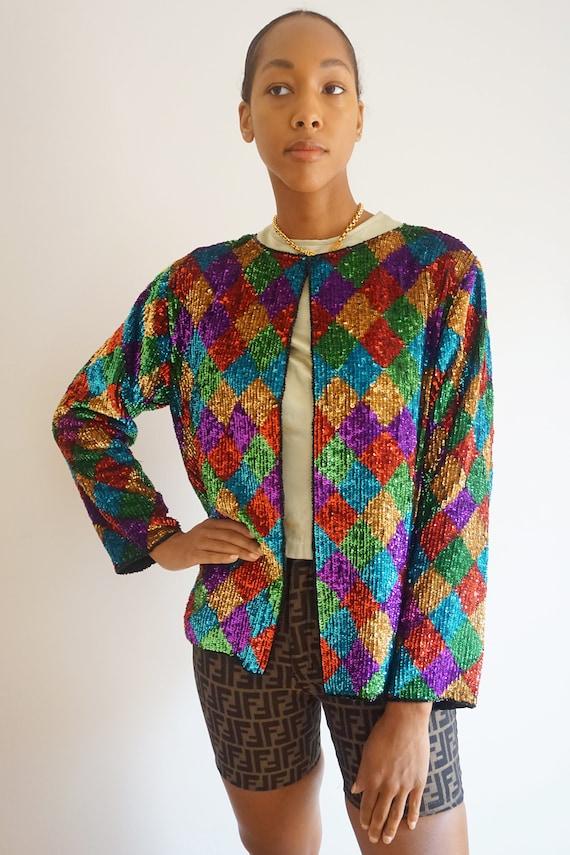 1980s Diamond Print Rainbow Silk Sequined Jacket