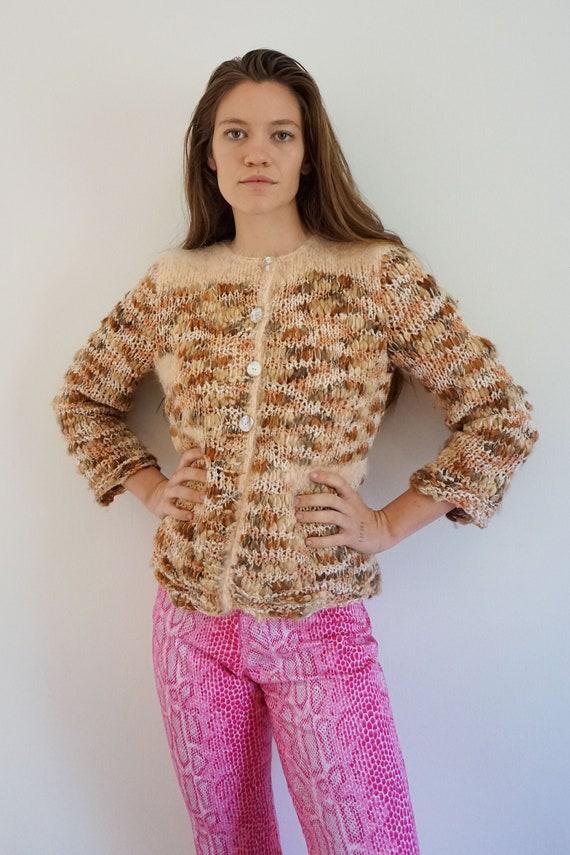 Hand Knit Angora and Wool Pink Knit with Abalone B