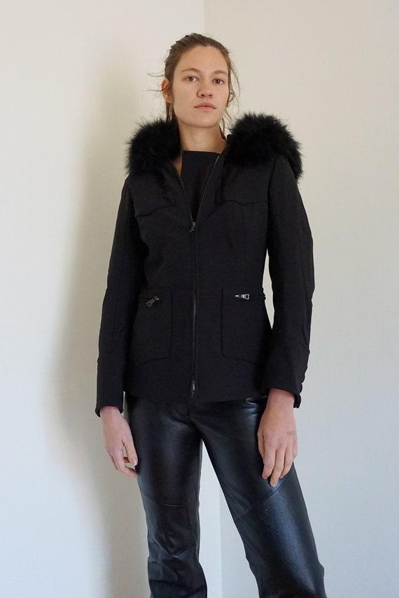 PRADA Nylon Slim Cut Minimalist Black Zip Front Ja