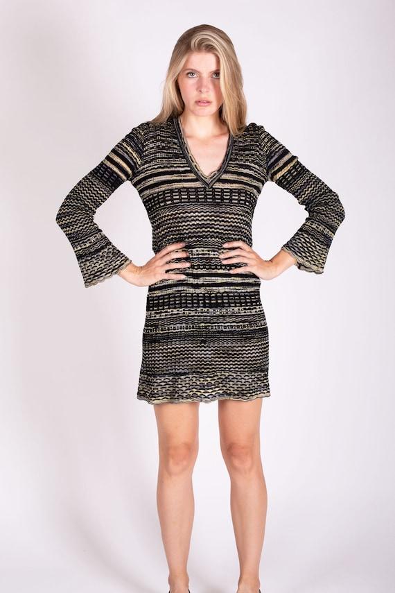 Vintage Missoni Striped Stretch Knit Bell Sleeve Dress Zig Zag S M Y2K M by Missoni V neck Knitted Crochet