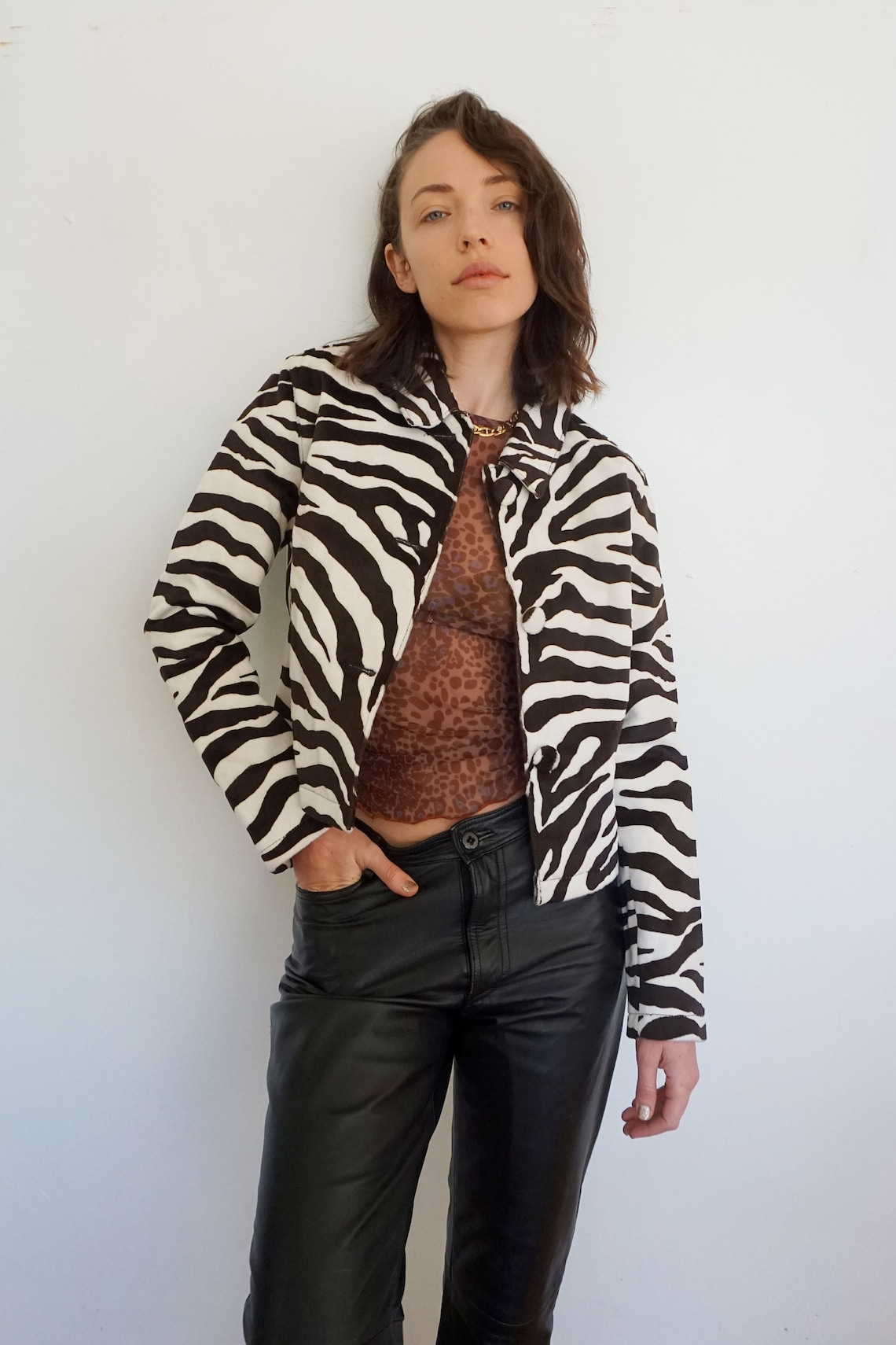Zebra Print Fitted Fuzzy Leather Jacket Animal Faux Fur Vintage Wild Minimal Button Up