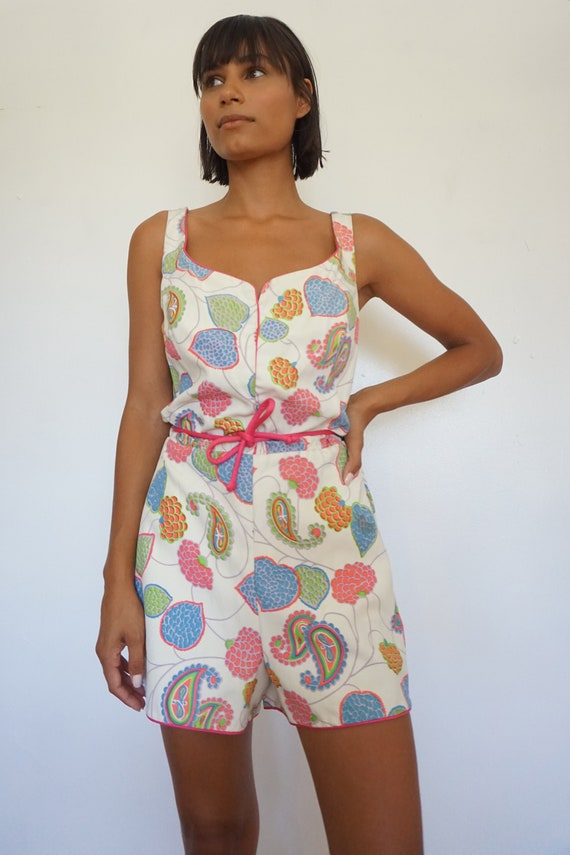 Paisley and Floral Print 1960s Playsuit Romper Be… - image 2