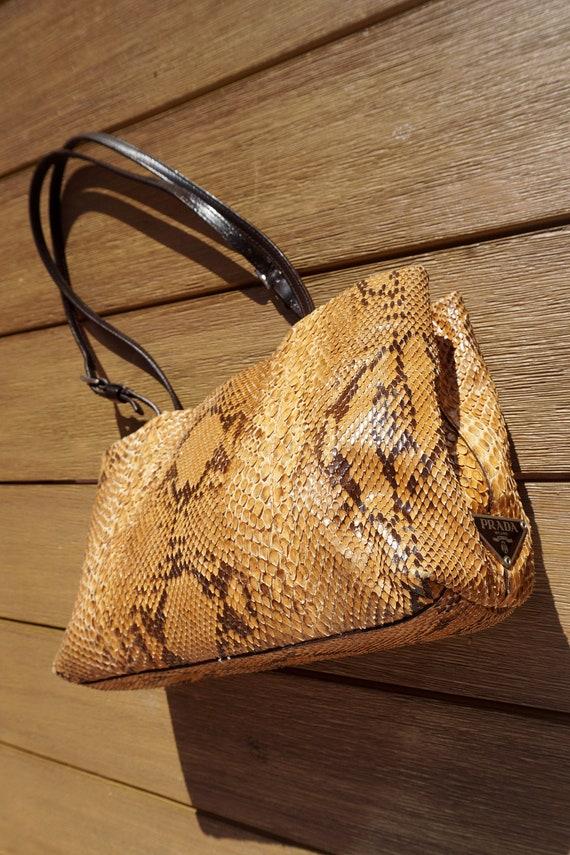 PRADA 1990s Vintage Snakeskin Leather Shoulder Bag